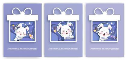 Satz Babyparty-Grußkarten mit einem niedlichen Kaninchen im Raum vektor