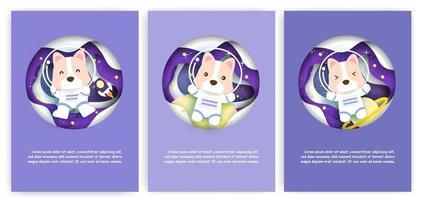 Satz Babyparty-Grußkarten mit einem niedlichen Hund im Raum vektor