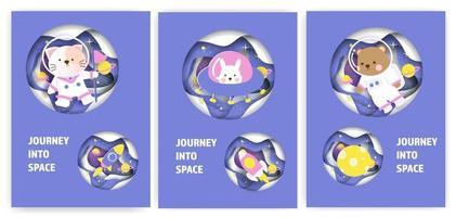 uppsättning baby shower gratulationskort med en söt djur resa in i galaxen.
