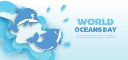 Weltmeere-Tagesfahne mit niedlichem Delphin im Papierschnittstil. vektor