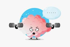 süßes Gehirn Maskottchen hebt eine Langhantel vektor
