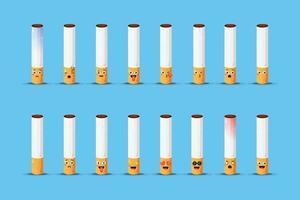 süße Zigarette mit Emoticons eingestellt vektor