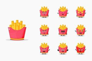 söta pommes frites maskot set