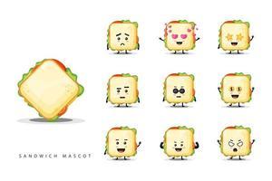süßes Maskottchen-Sandwich-Set vektor