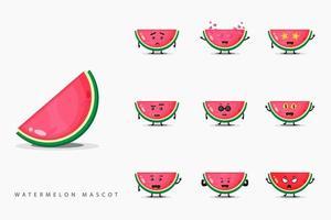 söt vattenmelon maskot set
