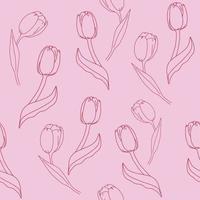 sömlösa mönster med röda tulpaner på en rosa bakgrund. blommig bakgrundsvektorillustration. vektor