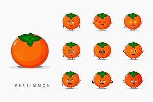 uppsättning söt persimmon maskot