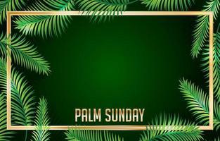 Palmensonntag mit Goldrahmenhintergrund vektor