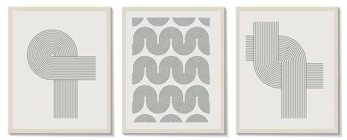 trendiger zeitgenössischer Satz abstrakter kreativer geometrischer minimalistischer künstlerischer handgemalter Komposition. Vektorplakate für Wanddekoration im Vintage-Stil vektor