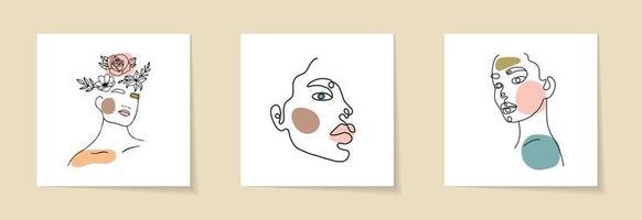 uppsättning kvinna ansikte och blommor kontinuerlig konturteckningar. abstrakt samtida collage av geometriska former i modern trendig stil. vektor porträtt av en kvinna. för skönhetskoncept, t-shirt tryck, vykort
