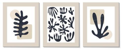 trendiger zeitgenössischer Satz von abstrakten matisse geometrischen minimalistischen künstlerischen handgemalten Algenkomposition. Vektorplakate für Wanddekoration im modernen Stil der Mitte des Jahrhunderts vektor