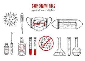 Coronavirus-Symbole im Skizzenstil. Handgezeichneter Kolben, Coronavirus-Bakterien, Impfstoff, Spritze, Blut, Thermometer, medizinische Maske, positiver und negativer Test, Desinfektionsmittel. Covid-19 Gravur Illustration vektor