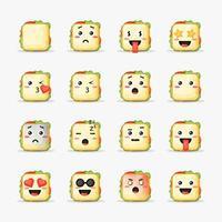 Satz Sandwich mit Emoticons vektor