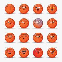 Satz niedlichen Basketball mit Emoticons vektor