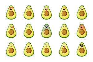 Satz niedliche Avocado mit Ausdrücken vektor