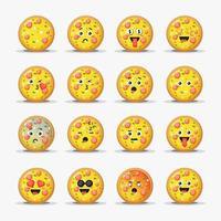 Satz süße Pizza mit Emoticons vektor