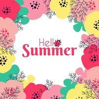 Hallo Sommerrahmen mit Blumenmotiven und Insekten vektor