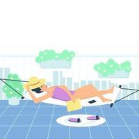 Eine Frau im Badeanzug nimmt ein Sonnenbad in einer Hängematte auf dem Balkon vektor