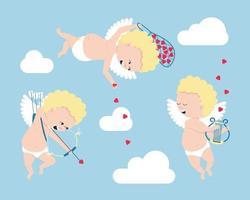 Satz Amoretten - Symbole des Valentinstags