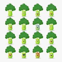 söt broccoli med uttryckssymboler