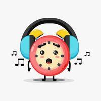 söt väckarklocka maskot lyssna på musik vektor