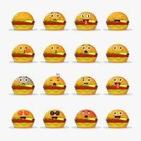 söt hamburgare med uttryckssymboler