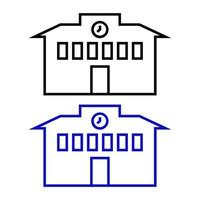 Schule auf weißem Hintergrund eingestellt vektor