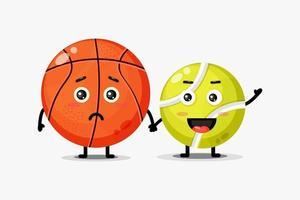 süßes Basketball- und Tennisballmaskottchen, das Hände hält vektor