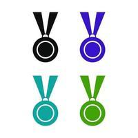 uppsättning medalj på vit bakgrund vektor