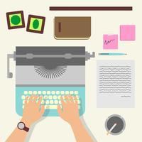 Mannhände, die einen Artikel auf einer Weinlese-Schreibmaschine schreiben vektor