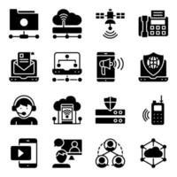 förpackning med fasta ikoner för nätverksteknik vektor
