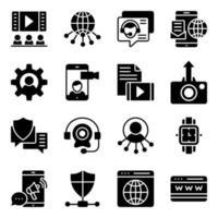 paket med webbplats och kommunikation fasta ikoner