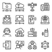paket med linjära ikoner för nätverksteknik vektor