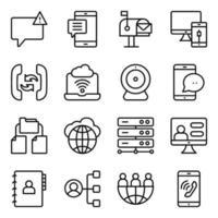 paket med linjära ikoner för kommunikation och nätverksteknik