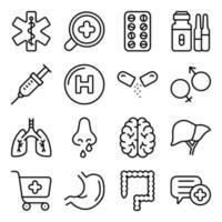 paket med medicinska linjära ikoner vektor