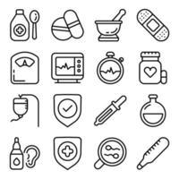 Packung linearer Symbole für das Gesundheitswesen vektor