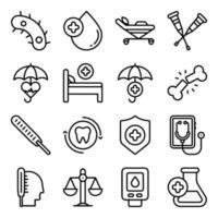 Packung mit linearen Symbolen für medizinische Werkzeuge und Geräte vektor