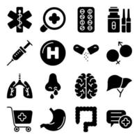 paket med medicinska verktyg fasta ikoner vektor