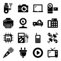 Packung mit Geräten und elektronischen Glyphen vektor