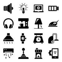 Packung mit elektronischen Glyphen-Symbolen vektor