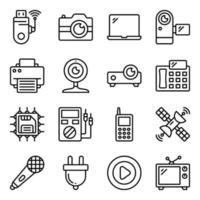 paket med apparater och elektroniska linjära ikoner vektor