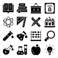 paket med fasta ikoner för utbildning