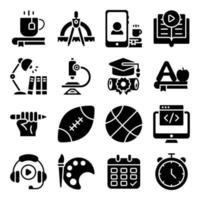 paket med moderna utbildning solida ikoner vektor