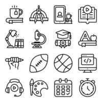 paket med linjära ikoner för modern utbildning vektor