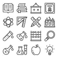paket med linjära ikoner för utbildning
