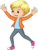tecknad karaktär av en glad pojke som skjuter händerna uppåt vektor
