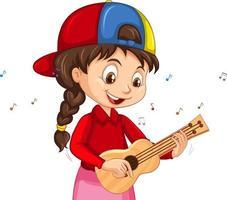 eine Mädchenzeichentrickfigur, die Ukulele spielt vektor