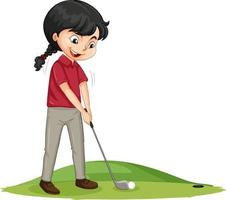 junge Golfspieler-Zeichentrickfigur, die Golf spielt vektor