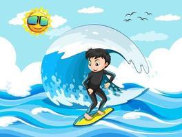 stor våg i havsscenen med pojke som står på en surfbräda vektor