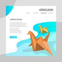Flat Origami Djur Fågel Med Modern Minimalistisk Bakgrund Vektor Illustration
